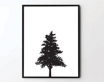 Winter Wall Art, Winter Poster, Tree Print, Tree Poster, Christmas Tree, Wall Art, Winter Gifts, Winter Decorations, Printable Wall Art, Art