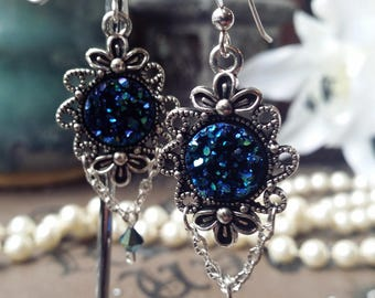 Crystal Cluster Silver Earrings with Chain