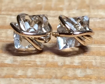 Herkimer Diamond Studs, Herkimer Diamond Earrings, Herkimer Studs, Gold Filled, Rose Gold, and Sterling Silver Setting