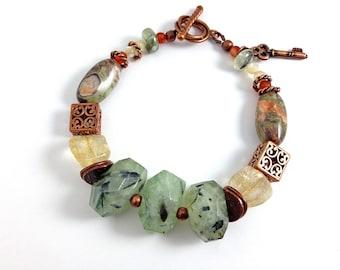 Boho bracelet, gemstone  and copper bracelet, beaded bracelet, green bracelet, gift for her, stone bracelet, boho jewelry, stone jewelry