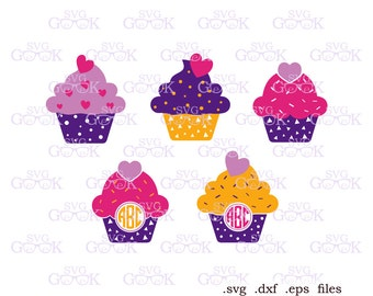 Cupcake SVG, Cupcake Monogram Frame svg, Muffin svg, Bakery svg cut files for Cricut and Silhouette, svg files