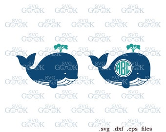 Whale SVG cut files, Whale Monogram Frame svg cut files for Silhouette, Cricut and other Vinyl Cutters, svg files