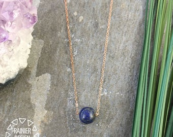 "Lapis Lazuli Ball Small Blue Minimalist Pendant/ 18"" Sterling Silver Chain/ Natural Polished Semi-Precious Geometric Sphere Gemstone Jewelry"
