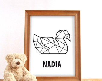 Printable custom name poster geometric swan, Digital download, Custom name print, Nursery print, Baby birthday gift, Digital custom print