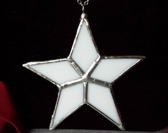 Stained Glass Star, Lone Star, White Opaque Glass Star, Lead Free Solder, Plated Chain, Toggle Clasp; Gift Wrapping Available