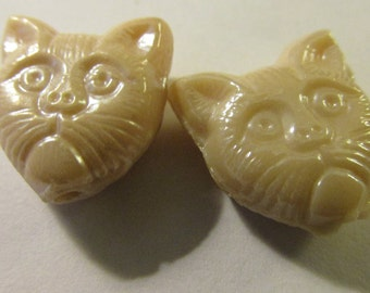 "Beige-Colored Glass Kitty Cat Beads, 1/2"", Set of 2"