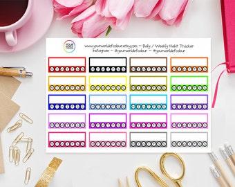Daily / Weekly Habit Tracker Planner Stickers - Erin Condren, Kikki K, Filofax, Happy Planner, Project Life, Kate Spade etc