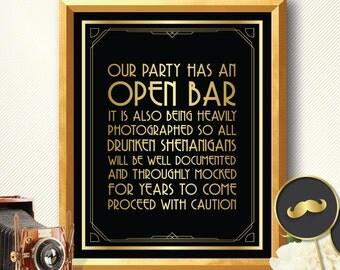 Great gatsby decorations open bar sign art deco great gatsby party decorations roaring 20s wedding great gatsby wedding drunken shenanigans