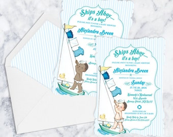 Ships Ahoy It's A Boy baby shower invitations, envelope liners and envelopes