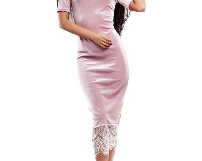 Blush Pink Velvet Dress, Green Pencil Dress, Cocktail Dress, Velvet Party Dress