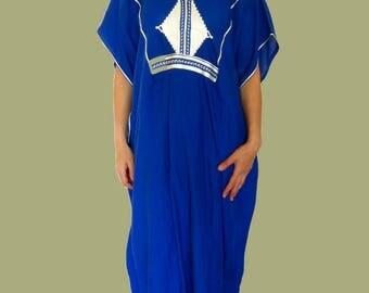 Cotton Huipil Dress blue tunic dress maxi blue kaftan dress maxi huipil dress maxi sleeveless tunic dress african kaftan Unique size Vintage