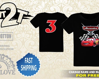 Cars Lightning McQueen Printed Front and Back T-Shirt, Custom Name and Number