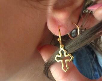 Gold Cross Earrings, Cross Charm Earrings, Women's Jewelry, Made in Greece by Christina Christi Jewels.