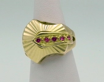 Ruby Gold Chevalier Ring Antique ring Chevalier Ruby mounted in 18k gold.