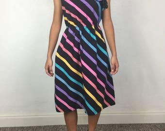 Vtg 70s asymmetrical rainbow striped dress small