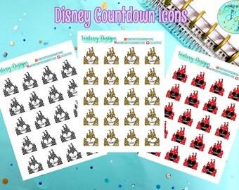 Disney Countdown Planner Stickers | Erin Condren, Happy Planner, Kikki K, Filofax