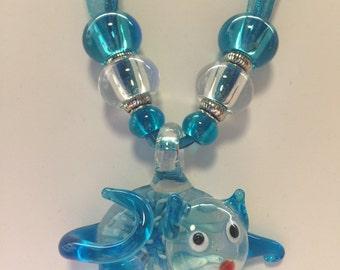 Aqua Lampwork Murano Glass Cat Pendant Necklace