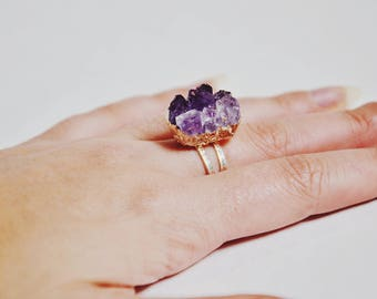 Natural Druzy Amethyst Silver Ring