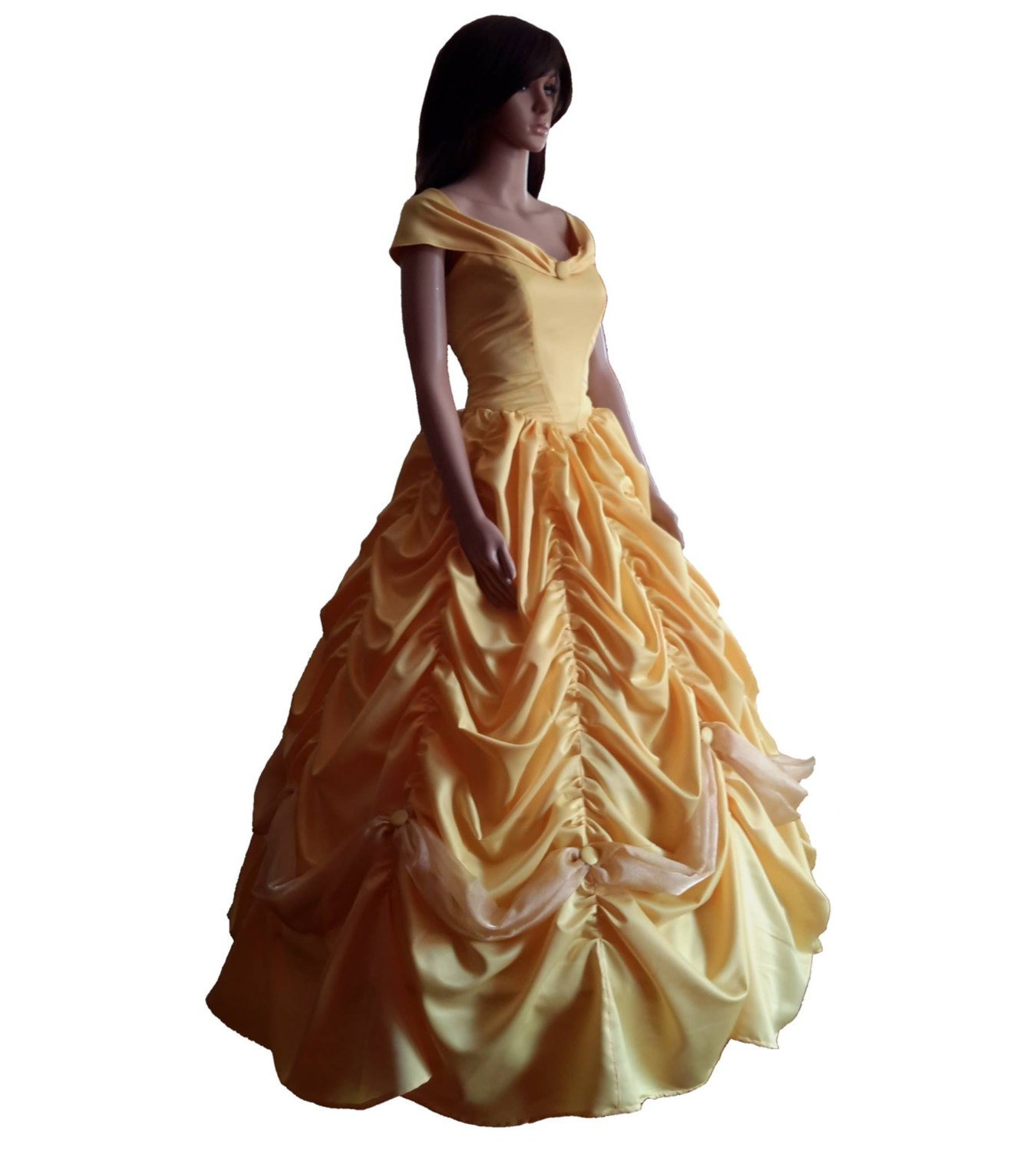 Satin Yellow Belle Dress Fully Lined Yellow Ball Gown