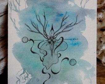 Carte postale nature bleue