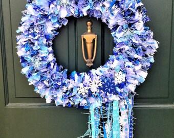 Rag Wreath, Winter Wreath, Snowflake Wreath, Front Door Wreath, Blue & White Wreath, Indoor Outdoor Wreath, Fabric Wreath, Handmade Wreath