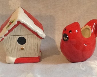 Enchanting Winter-Themed Birdhouse, Cardinal Cream and Sugar Bowl Set