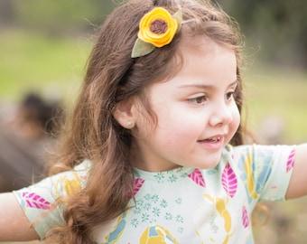 Sunflower Headband, Spring Felt Flower Headband, Felt Nylon Headband, Girls Felt Headband, Sunflower Crown, Yellow Baby Toddler Girl