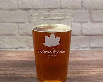 Fall Wedding Gift, Fall Wedding Glasses, Fall Beer Glass, Fall Wedding Beer, Fall Beer Glass Gift, Autumn Wedding Gift, Fall Wedding
