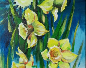 Spring flowers Daffodils , original acrylic painting, Joyful spring art, Sunshine and daffodils