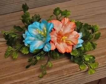 Blue and Orange Flower Hair Clip - Flower Hair Clips, Barrette, Flower French Barrette, Girl Barrette, Floral Barrette, Hair Clips Floral