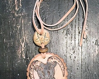 Handmade Black Phillip, Handpainted Pyrography Necklace,Woodburned Occult Pendant,One-of-a-kind Folk Necklace,Hedgewitch Occult The Witch