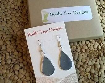 Sale- Silver Plated Tear Drop Pendant Earrings, Polished Silver Earrings, Silver Dangle Earrings,  Metal Drop Earrings, Shiny Metal Earrings