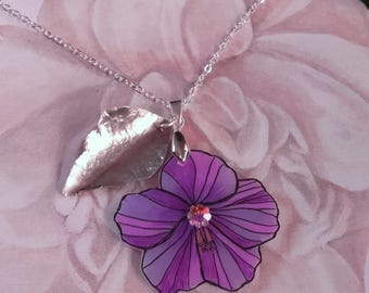 Purple hibiscus flower pendant necklace alpaca leaf cut and hand-hammered
