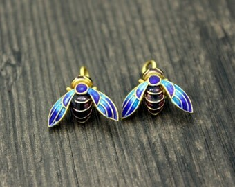2 Sterling Silver Bee charms pendants with blue green enamel, Chinese Cloisonne, Bumble bee, Honey bee, Queen Bee Charm
