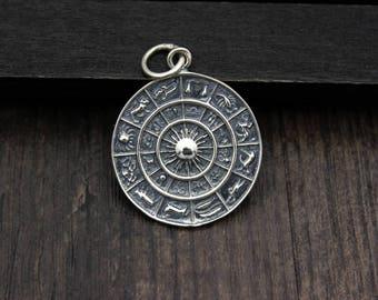 Sterling Silver Zodiac Pendant, 12 Zodiac Charms,Round Zodiac Pendants, Astrology pendant