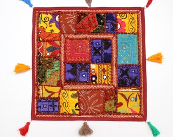 Handmade Hippie Gypsy Home Decor Ethnic Multi color Embroidered Hippy Patchwork Bohemian Pillow Shams Couch Cushion Cover Case G829