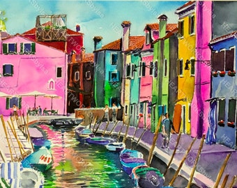 VENICE WATERCOLOR PAINTING canal colorful handprinted print Burano Original