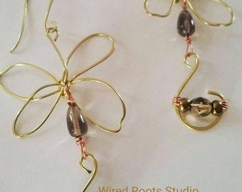 Butterfly drop gemstone dangle earrings, butterfly drop earrings, bronze butterfly earrings, quartz butterfly earrings, gifts for her, boho
