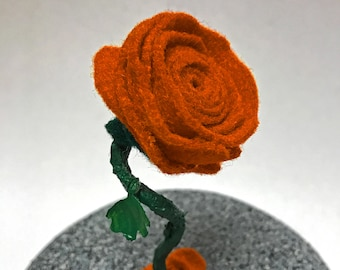 Beauty and the Beast Rose, Enchanted Rose, Felt Rose, Felt Flower, Small Rose, Orange Rose, Orange Flower, Rose Bell Jar