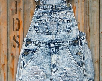 Young Girl's size 8 to12 Denim Distressed Bib Overall Shorts.