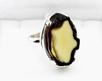 Horn Amber Ring, Horn Jewelry, Bones Jewelry, Bones Ring, Cut Stone Ring, Cut Gemstone Ring, Elk Ring, Elk Jewelry, Natural Jewelry, Jewelry