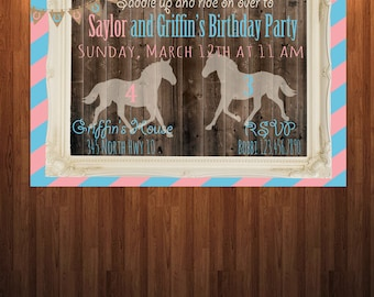 Horse Birthday Invitation, Siblings Birthday Invitation, Friend Birthday Invitation, Country Themed Birthday, Children's Birthday