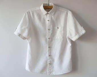 White Linen Shirt Summer Linen Shirt Button up Shirt Linen Men Shirt Short Sleeve Shirt Linen Chemise Summer Beach Wedding Shirt Medium
