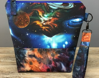 Out of This World - Medium Size Sock Knitting Project Bag by WIPyarns,