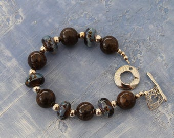 TerisArt One of a Kind Lampwork, Blue and Brown, Bronzite and Sterling Silver Bracelet
