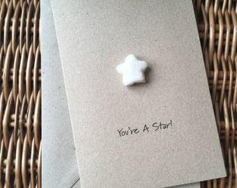 You're A Star thank you greeting card hand-felted on recycled kraft card
