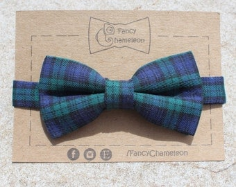 Green & Navy Blue checkered bow-tie, adjustable pre-tied bow-tie, christmas gifts
