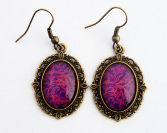 Velvet and Lace - Passion purple and red swirl drop earrings (bronze setting)