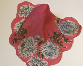 Vintage Pink Handkerchief with White/Gray Flowers, Wedding Handkerchief, Shabby Chic Handkerchief