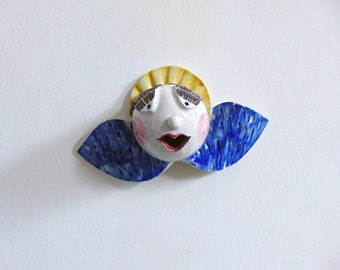 Ceramic  angel cherub wall decor. Vietri pottery handmade
